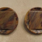 Pair of Chic Coat Buttons � Mottled Agate Brown Color