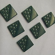 Set of Six Stylish Green Plastic Square Buttons, 1950s