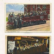 Two Quebec Tourist Trolley Car Postcards, 20 Years Apart