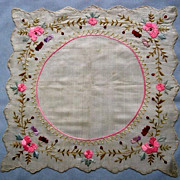 SOLD Exquisite Embroidered Silk Handkerchief - Perfect for a Wedding