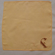 Embroidered �F� Monogram in Deco Design on Handkerchief