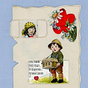 Charming Hand-Made Greeting Card, Little Boy Serenading Girl