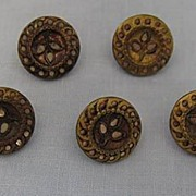 SALE Victorian Metal Buttons, Pretty Openwork Leaves, Set of Five