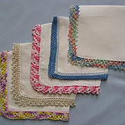 Five White Handkerchiefs with Colorful Crocheted Edges
