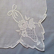 Flower Basket Applique on Lovely White Linen Handkerchief