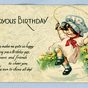 Cute Birthday Postcard of Little Girl with Jump-rope, Twelvetrees Illustration