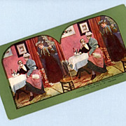 Comic Stereoview Card  Wife Discovers Flirting Husband With Maid