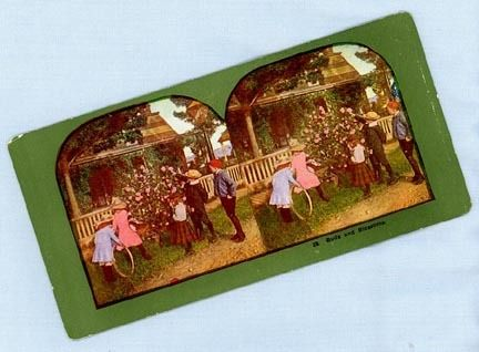 Cute Stereoview Card – Five Children Near a Porch and Rosebush