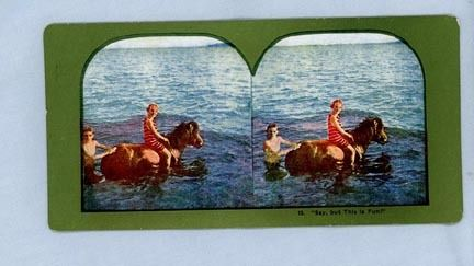 Stereoview Card – Girl on a Pony in the Water