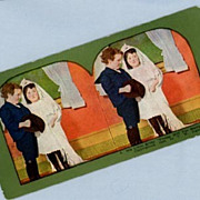 Charming Stereoview Card - Two Children Playing Bride and Groom