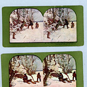 Two Stereoview Cards  Man and Boy Hunting Rabbits