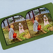 Cute Stereoview Card  Two Little Girls Watering Garden