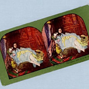 Stereoview Card  Woman Reclining with Bare Feet on Bear Rug