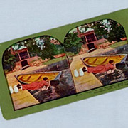 Comic Stereoview Card  Woman Falling into Water with Rowboat