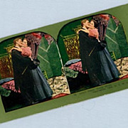 Romantic Stereoview Card  Man and Woman in Warm Embrace