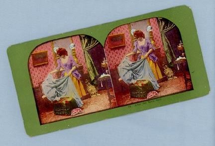 Stereoview Card – Woman at Home After the Masked Ball