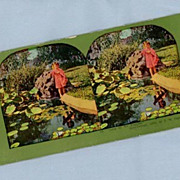 Cute Stereoview Card  Excited Little Girl at Pools Edge