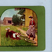 Comic Stereoview Card  Woman With a Bicycle Mishap