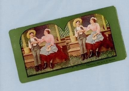 Comic Stereoview Card – Woman Teasing Bashful Man