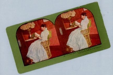 Stereoview Card – Woman Reading a Letter with Good News
