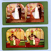 Two Stereoview Cards  Bride and Groom, Followed by Babys Arrival