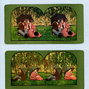Two Comic Stereoview Cards  Before and After Marriage