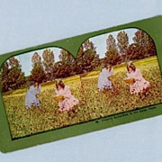 Sweet Stereoview Card  Two Little Girls Chasing Butterflies