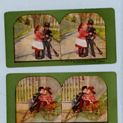 SALE Two Adorable Stereoview Cards  Two Children Playing Soldier and Girlfriend
