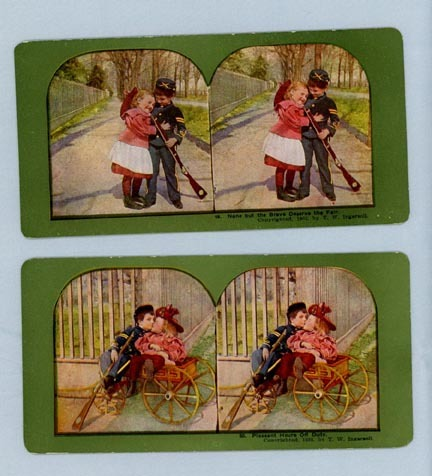 Two Adorable Stereoview Cards – Two Children Playing Soldier and Girlfriend