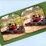 Cute Stereoview Card  Seven Children with a Toy Train