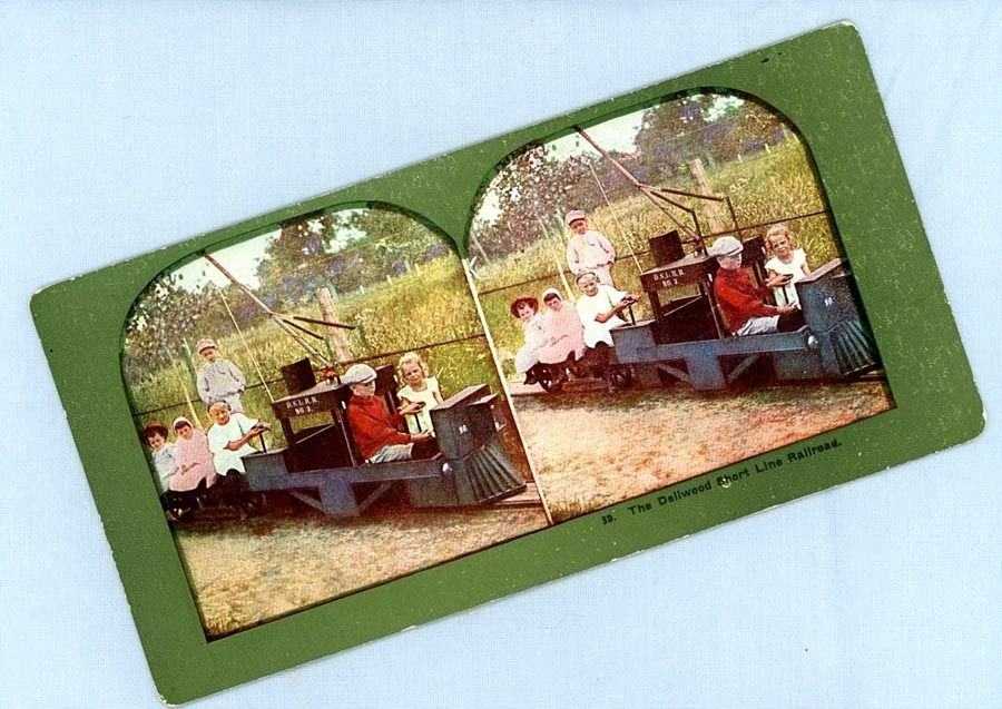 Cute Stereoview Card – Seven Children with a Toy Train