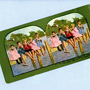 Cute Stereoview Card  Five Children on a Dock Eating Watermelon