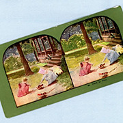 Sweet Stereoview Card  Two Little Girls Playing in Their Yard