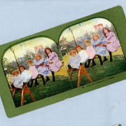 Sweet Stereoview Card  Five Little Girls on a See-saw