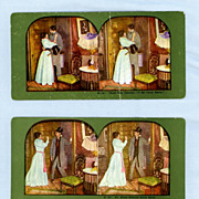 Two Comic Stereoview Cards  Mr. Small Goes to a Party