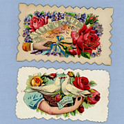 Two Lovely Victorian Era Calling Cards, Birds and Flowers