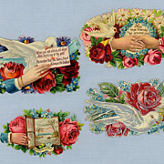 Four Sentimental Victorian Era Die-cuts - Vintage Scrapbook Collectibles