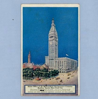 Postcard with Metropolitan Life Insurance Building on Madison Square, NY
