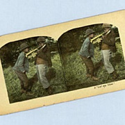 Cute Stereoview Card  Two Black Boys With a Trumpet