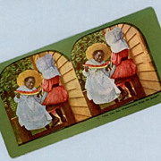Cute Stereoview Card  Two Girls with One Watermelon Slice