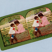 Stereoview Card � Two Cute Black Children - Gum for Two
