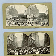 Two Stereoview Cards  Broadway and Battery Park, New York