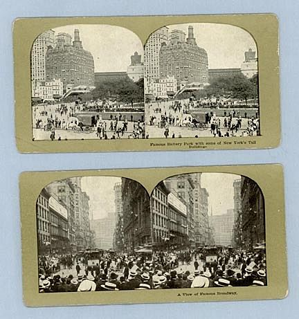 Two Stereoview Cards – Broadway and Battery Park, New York