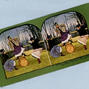Comic Stereoview Card  Three Woman Balancing on a Makeshift See-Saw