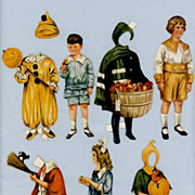 Childrens Paper Doll Cutouts from Vintage Magazine  Halloween Costumes
