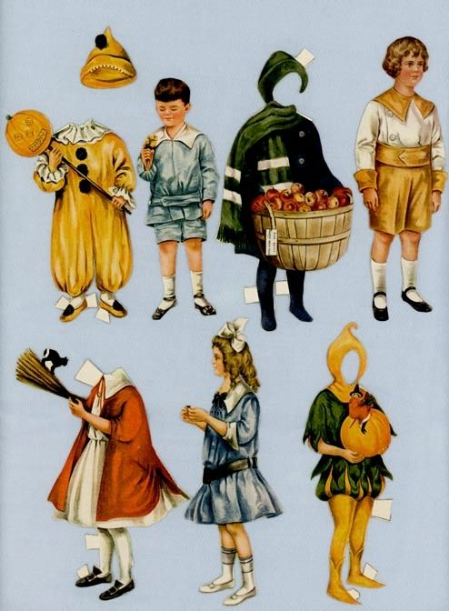 Children's Paper Doll Cutouts from Vintage Magazine – Halloween Costumes