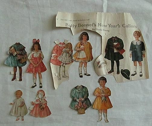 Betty Bonnet New Year's Paper Doll Cutouts from 1918 Magazine