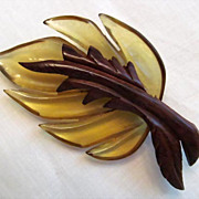 Lucite and Wood Leaf Brooch  Retro Fabulous