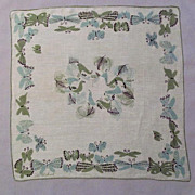 SALE Cute Handkerchief with Butterflies and Birds, Designed by Pat Prichard