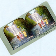 Colorful Stereoview Card  Three Little Girls Near Minnehaha Falls